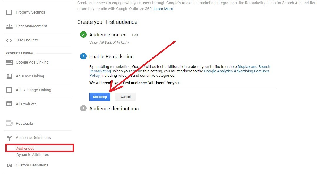 Google Remarketing Step 2