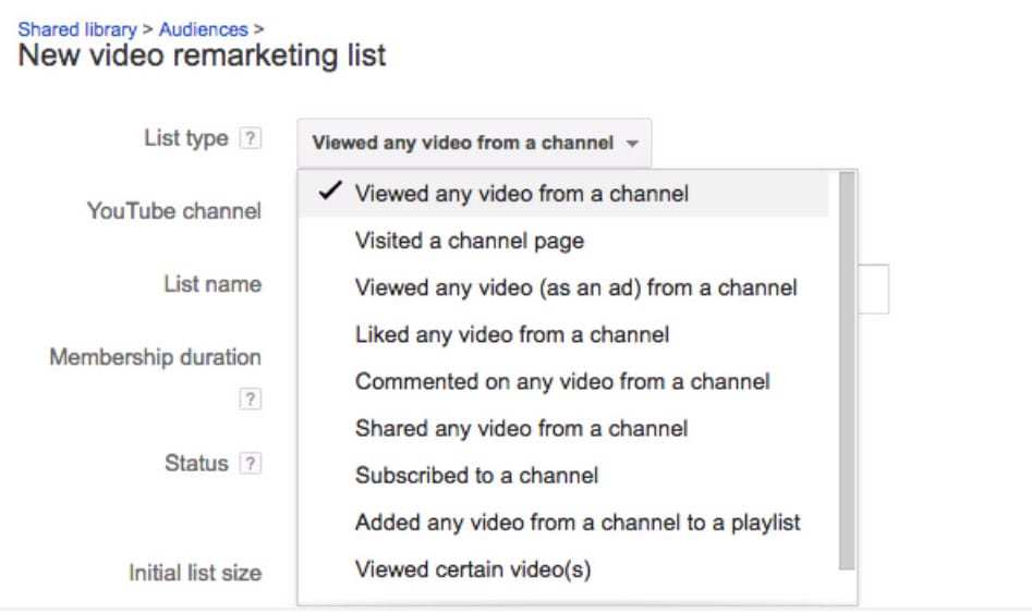 Youtube Remarketing Lists